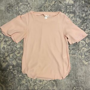 H&M Blush Pink Flutter Sleeve Top in sz 2